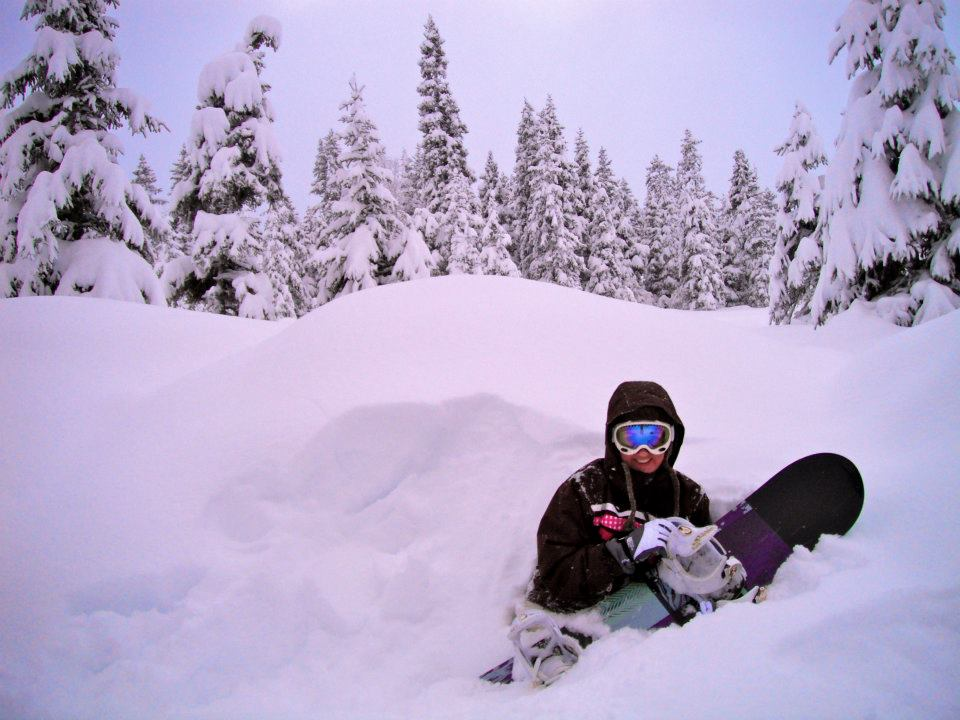 Stuck in chest deep powder in Alaska