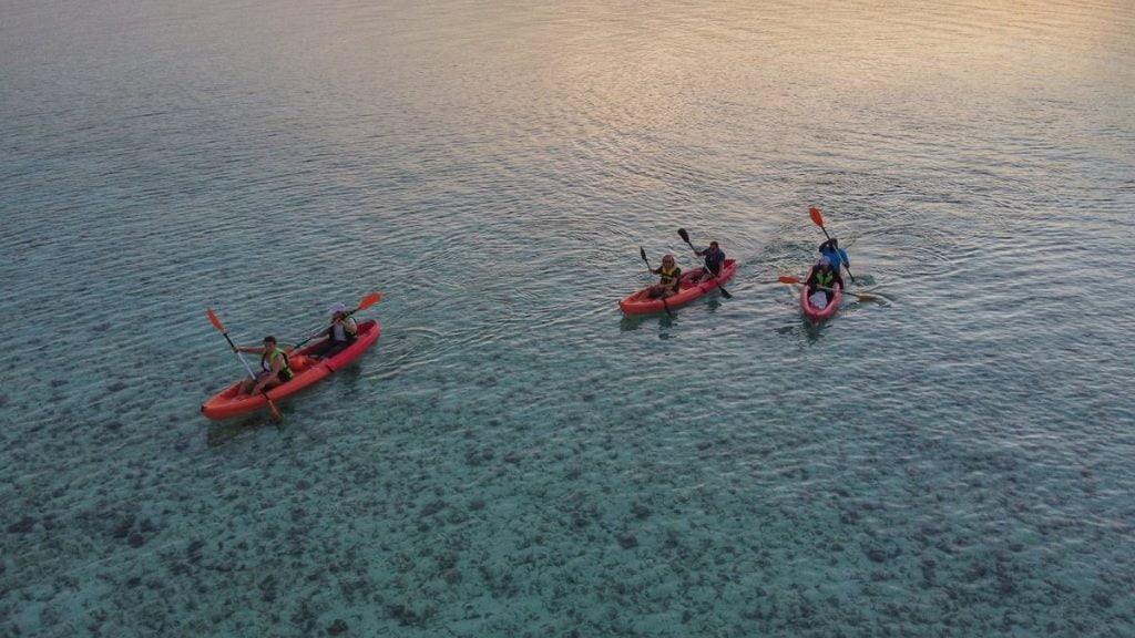 Group of people kayaking together