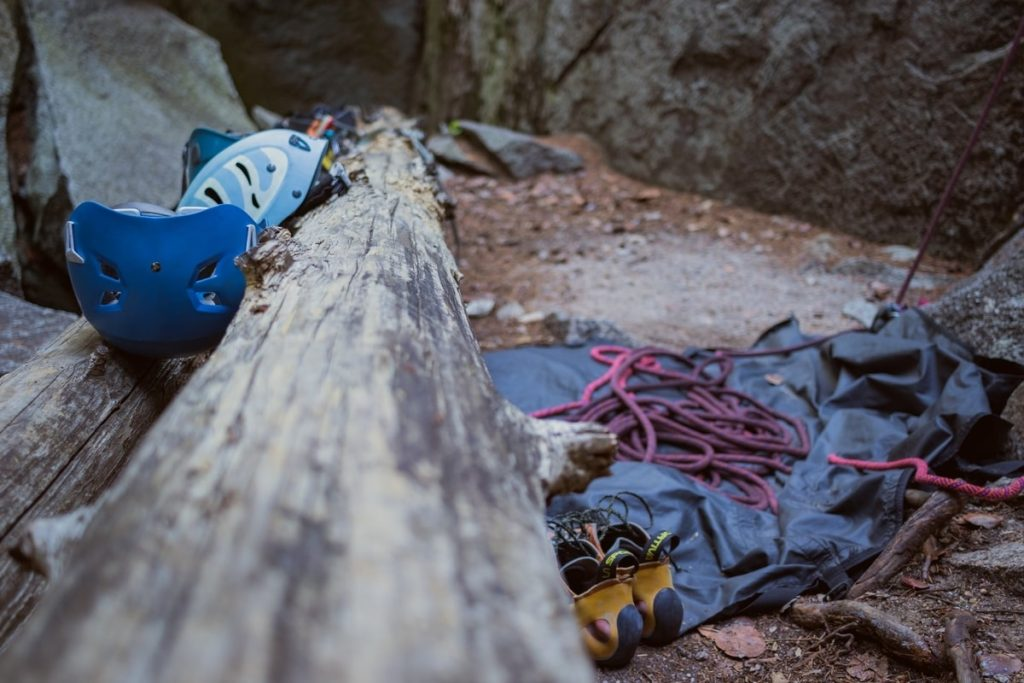 Helmets, climbing shoes and ropes