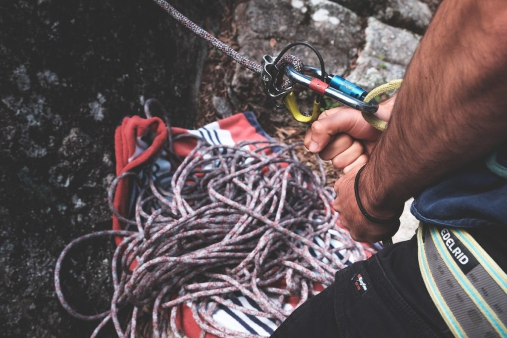 Man with equipment for climbing