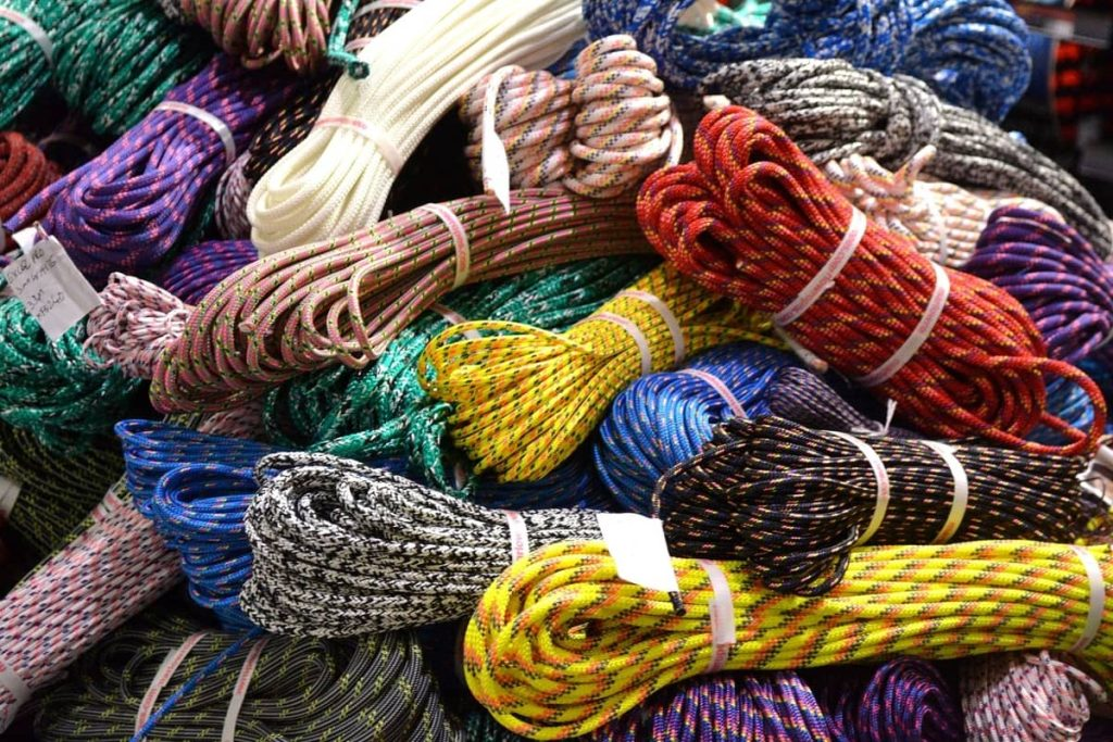 Multi colored coiled up climbing ropes