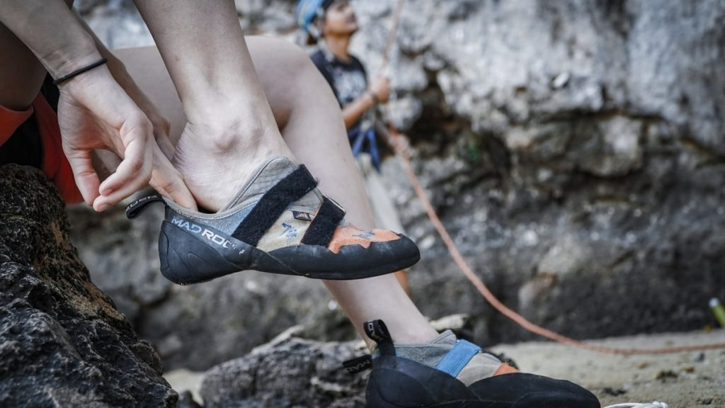 wearing-climbing-shoes-for-rock-climbing