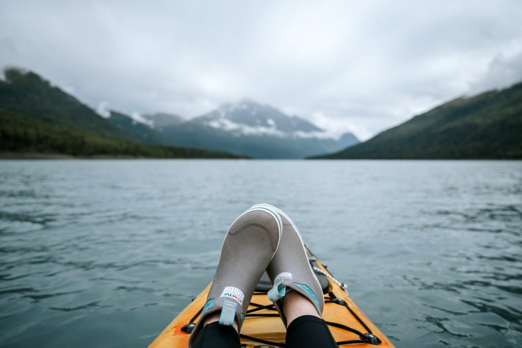 sit on top kayak in the water